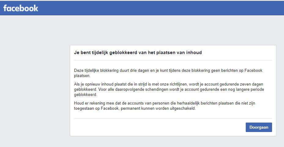 3 dagen Facebook ban