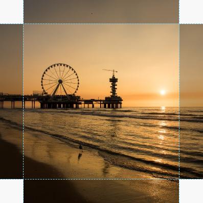 Canvas zonsondergang De Pier